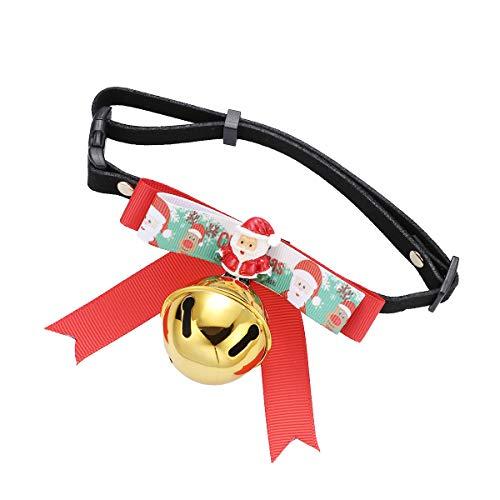PRETYZOOM Collares de Navidad para gatos con temática navideña, cuello ajustable para perro, gato, pajarita con campana, talla S, estilo 2