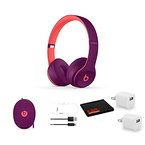 Beats by Dr. Dre Beats Solo3 Wireless On-Ear Bluetooth Headphones (Pop Magenta) - Kit with USB Adapter Cube