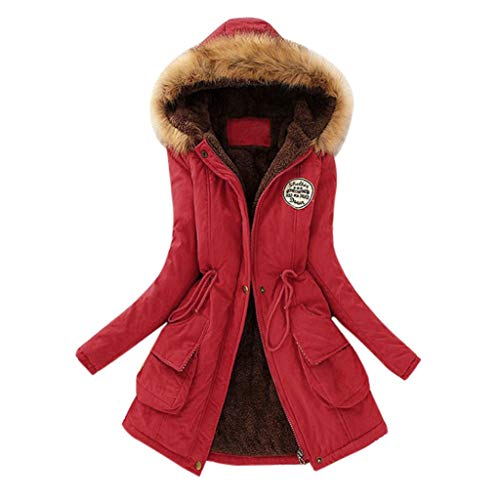 vermers Women Coats Winter, Womens Warm Long Coat Fur Collar Hooded Jacket Slim Parka Outwear(6, A#Red)