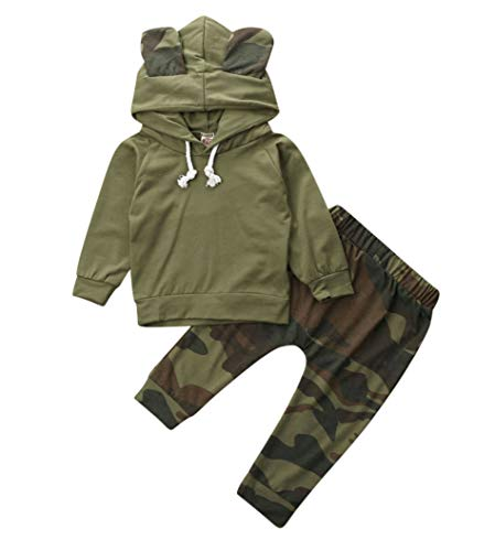 Baby Boy Girl Pullover Top and Pant Set Sweatshirt Hoodie Elastic Waist Leggings Bottoms 2Pcs Kids Clothes Fall Winter (K-Green, 18-24M)