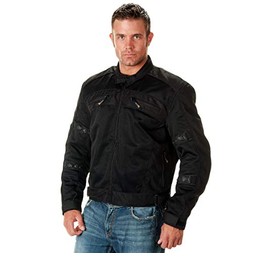 Xelement CF380 'Devious' Men's Black Mesh Jacket with X-Armor CE Protection - Large