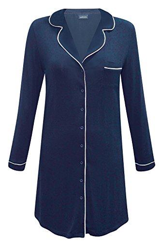 Lascana Classic Dreams Nachthemd Schlafshirt durchgeknöpft Modal 32/34 Navy