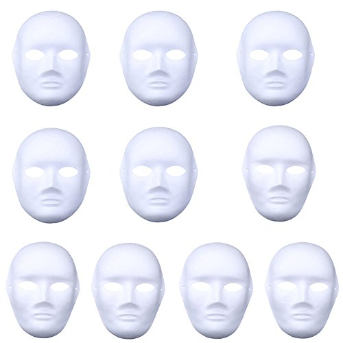 Meimask DIY 10 stücke Weißes Maske Zellstoff Blank Handgemalte Maske Persönlichkeit Kreative Freie Design Maske (5pcs Männer+5pcs Frauenc)