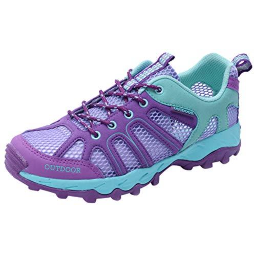 HDUFGJ Damen Trekking-& Wanderschuhe Outdoor-Schuhe Atmungsaktiv rutschfeste Reiseschuhe Watschuhe Sneaker Leichtgewicht Laufschuhe Bequem Mode Freizeitschuhe Faule Schuhe38 EU(Lila)