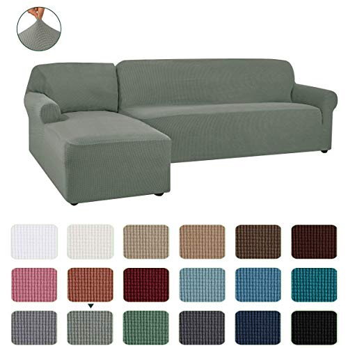 CHUN YI Stretch Sectional Couch Covers Soft L-Shaped Sofa Slipcovers with Elastic Bootm , Jacquard Chaise Lounge Set for Living Room 2 Seat Protector (Left Chaise,Dove Gray)