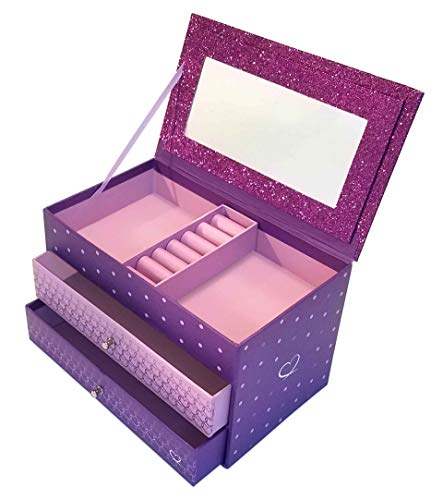 Jewelry Box for Girls - Pink and Purple Sparkles with Hearts...