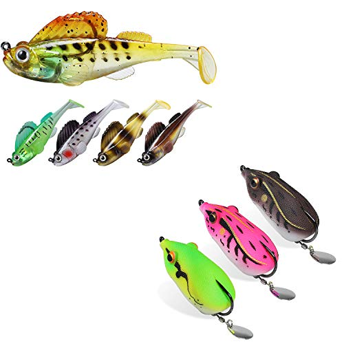 TRUSCEND Fishing Lures for Bass Trout Jighead Lures Paddle Tail Swimbait & Japan Design Frog Topwater Soft Baits for Bass Musky Trout Fishing Tackle