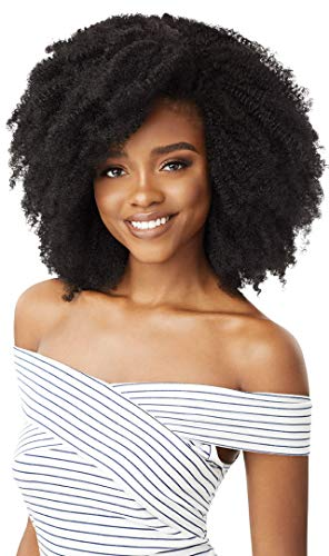 Outre BIG BEAUTIFUL HAIR CLIP-IN Blends Perfectly w/Curly & Textured Hair Creates Longer Fuller Looks 100% Human Hair Premium Blend Limitless Quick Styling - 4C CORKSCREW AFRO (JBLK)