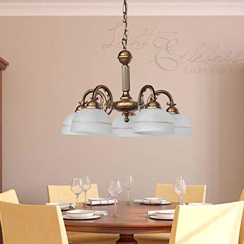 Klassische Deckenleuchte mit schönen Details 5-armig in Bronze Deckenlampe Jugendstil