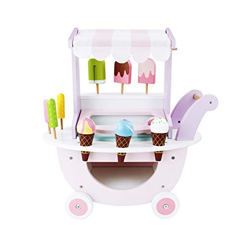 jerryvon Wooden Ice Cream Cart Toy Role Playing Creative Fun Games Sweet Food Play Set and Accessories Magnetic Toys Kids Ice Cream Shopping Trolley as Gift For Girls Boys Children 3 4 5 6