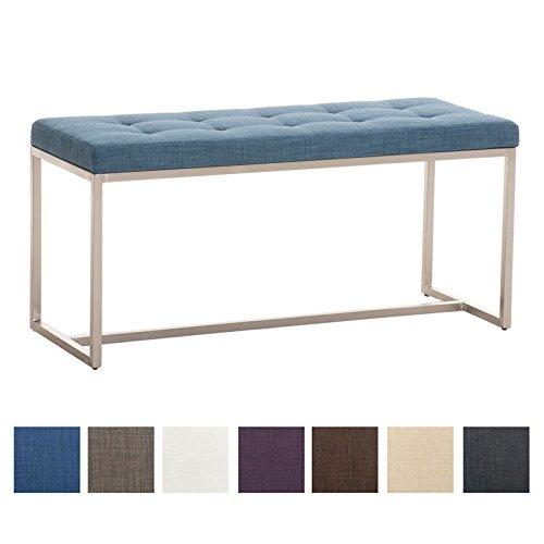 CLP 2er Sitzbank BARCI mit hochwertiger Polsterung und Stoffbezug | Gepolsterte Esszimmerbank mit robustem Edelstahlgestell und Einer Sitzhöhe von: ca. 47,5 cm erhältlich Blau