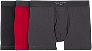 Goodfellow & Co Men's Premium Knit 3 Pack Boxer Briefs (Black/Red, Small)