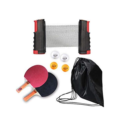 Ping Pong Juego de Tenis de Mesa portátil, Morbuy Red de Tenis de Mesa retráctil (con 2 Raquetas, 4 Pelotas, una Bolsa y una Red retráctil) para Escuela Familia Interiores Exteriores (Negro)