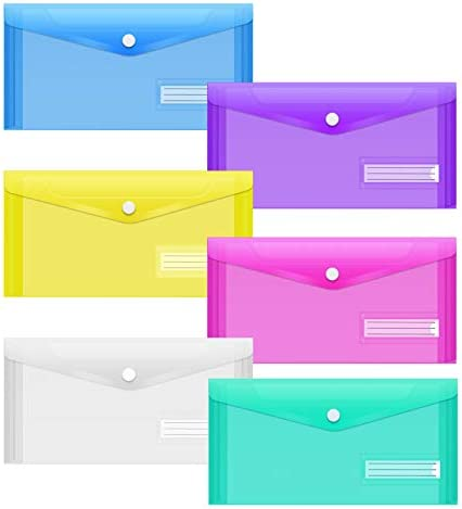 Sooez 24Pack Plastic Pencil Pouch Clear Poly Envelopes File Bag Bill Bag Pencil Case with Label product image
