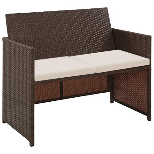Festnight 2-Sitzer-Sofa | Garten Lounge Sofa | Rattan-Lounge | Poly Rattan Gartensofa | Outdoor Lounge Sessel | Rattan Gartenmöbel | Braun Poly Rattan 100x56x85 cm