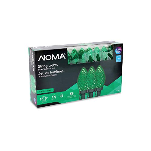 NOMA C9 LED Christmas Lights | 25 Green Bulbs | 16.8 Ft. String Light | UL Certified | Indoor & Outdoor