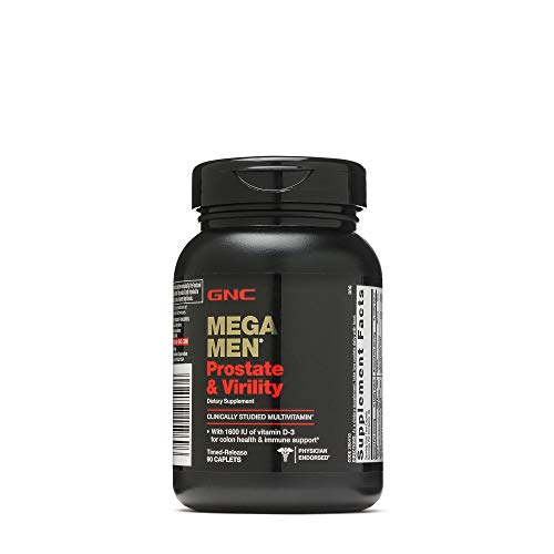 GNC Mega Men Prostate and Virility, 90 Caplets, Supports Sexual Health