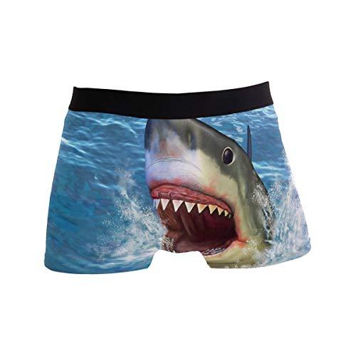Elroy Gibbon Herren Boxershort Boxer Weißer Hai Grafik Exotisch Männer Unterhosen Unterwäsche,8,XL