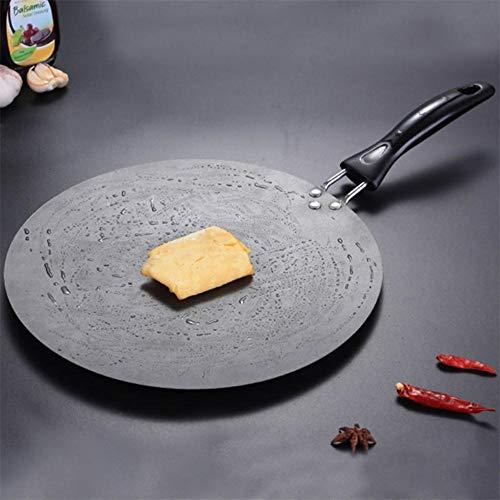 EDCV Koekenpan Pannen Gietijzer Omelet Pan Rond Kookgerei Voor Inductie En Gasfornuis 30cm Keuken Bakplaat Antiaanbaklaag Grill
