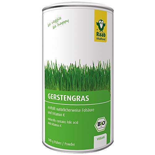 Raab Vitalfood Bio Gerstengras-Pulver (140 g), enthält natürlicherweise Folsäure und Vitamin K, ideal für Smoothies, vegan, glutenfrei, hergestellt & laborgeprüft in Deutschland