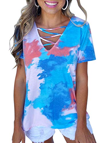 Blusa casual de verano para mujer, de teñido anudado, de manga corta, cuello en V, con cordones, camiseta degradada, túnica de moda