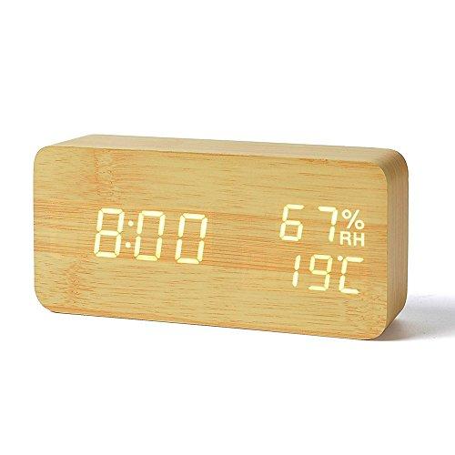MiniSuit Reloj Digital Despertador de Madera con Control de Sonido y LED Brillo de la Pantalla(Puede Mostrar el año, Mes, día, Hora, Minuto, Temperatura Interior y la Humedad Interior) Color Amarillo