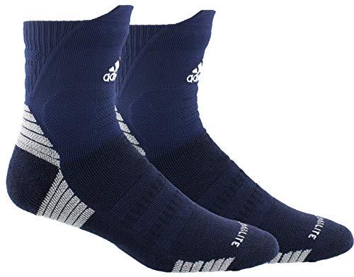 adidas Alphaskin - Calcetín unisex para adultos, tamaño máximo, acolchado alto, color azul y blanco - 977050, Alphaskin - Calcetines acolchados (1 par), XL, Collegiate Navy/Blanco/Cebolla Clara