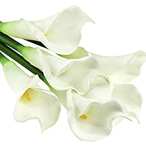 """FiveSeasonStuff Real Touch Calla Lily Artificial Flowers, Wedding Bridal Floral Arrangements (25"""" 6 Long Stems, Spring White)"""