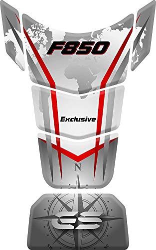 Paraserbatoio Motocicleta Gas Pantalla Depósito de Combustible de Goma Tankpad adhesivo para BM.W BM.W F 850 GS ADV Adventure Rally F850 (Blanco/Rojo)