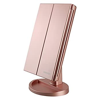 deweisn Tri-Fold Lighted Vanity Mirror with 21 LED Lights Touch Screen and 3X/2X/1X Magnification Two Power Supply Modes Make Up Mirror,Travel Mirror