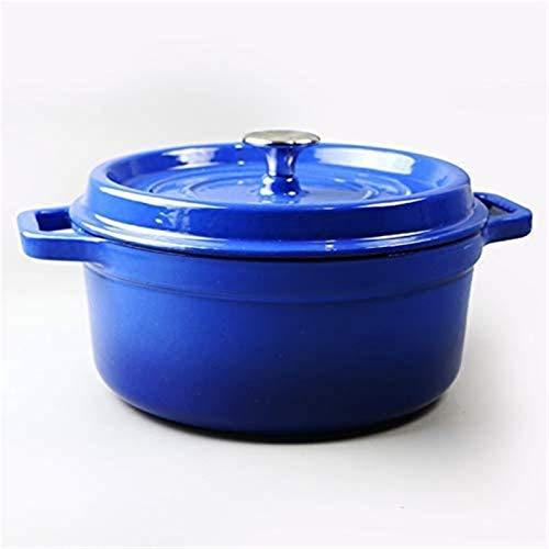 Casserole Casserole de taille multiple en fonte émaillée avec revêtement antiadhésif, casserole polyvalente avec couvercle, pot à ragoût avec lidred24cm (Color : Blue, Size : 24cm)