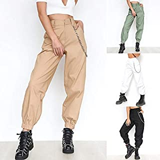 784ffe67af2e FAIYIWO Punk Style Women Casual Solid Color Long Harem Pants FAIYIWO Army  Green, Size :