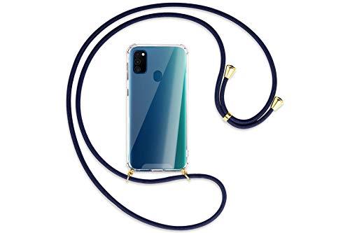 Preisvergleich Produktbild mtb more energy® Handykette kompatibel mit Samsung Galaxy M30s,  Galaxy M21 (6.4'') - dunkelblau / Gold - Smartphone Hülle zum Umhängen - Anti Shock Strong TPU Case