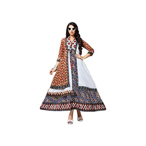 kfgroup Women's Designer Anarkali Cotton Printed Kurti and Tunic Top White