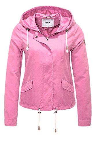 ONLY Damen Parka Übergangsjacke Kapuzenjacke Jacke (M, Begonia Pink)