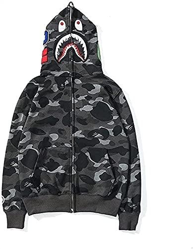 LIUPING Bape Hoodie Shark Head Cardigan Patchwork Hoodies Camuflaje Zipper Plus Fleece Chaqueta Sudadera De Algodón para Hombres Y Mujeres (Color : A, Size : XX-Large)
