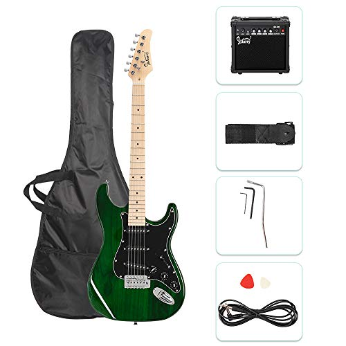 GLARRY 39' Full Size Electric Guitar for Music Lover Beginner with 20W Amp and Accessories Pack Guitar Bag (Green)