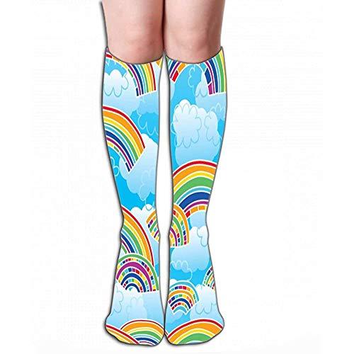 Imprimir Calcetines altos hasta la rodilla para mujer Tubo atlético sobre la pantorrilla arcoíris coloful diseño azul cielo dibujo elegante nube color brillante Dibujo