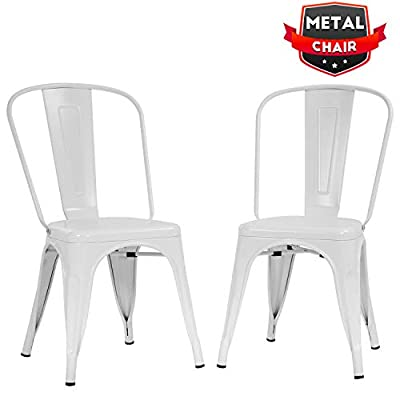 Metal Dining Chairs Set of 2 Indoor Outdoor Chairs Patio Chairs Kitchen Metal Chairs 18 Inch Seat Height Restaurant Chair Metal Stackable Chair Tolix Side Bar Chairs 330LBS Weight Capacity