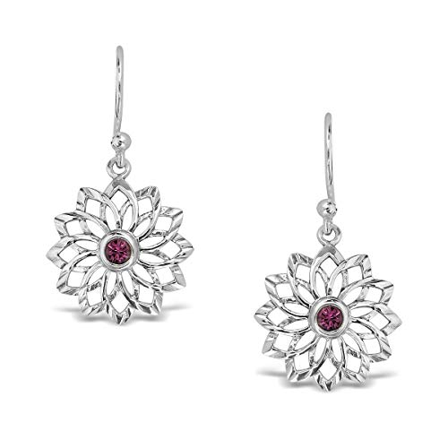 WithLoveSilver - Pendientes colgantes de plata de ley 925 con chakras de yoga y flor de la vida con cristales de amatista