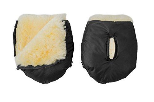 Altabebe MT2801LP-65 Lammfell Handwärmer für Kinderwagen Nordkap Kollektion, schwarz