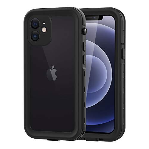 WIFORT Funda Antigolpes para iPhone 12 Mini 5.4',Impermeable IP68,Carcasa con Protector de Pantalla Incorporado,Protección de 360 Grados,Negro