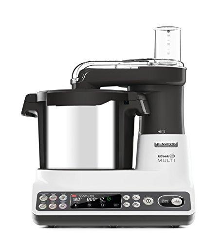 Kenwood KCook Multi CCL401WH - Robot de cocina multifunción de 1500 W, hasta 180ºC, bol de 4.5 L, 6 programas predefinidos, accesorios incluidos, clase A, gris/blanco