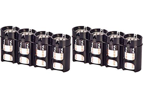 Powerpax D - Soporte para batería (2 unidades, 4 unidades), color negro