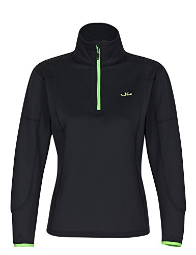Jeff Green Damen Softshell Pullover Jess - Funktions- und Outdoor Pullover Thermofunktion, Größe - Damen:40, Farbe:Black
