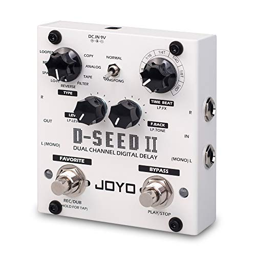 JOYO D-SEED-II Multi Pedal Effect, Stereo Looper Effect & Delay Pedal Effect for Bass Electric Guitar, Dual Channel & 8 Digital Delay Modes
