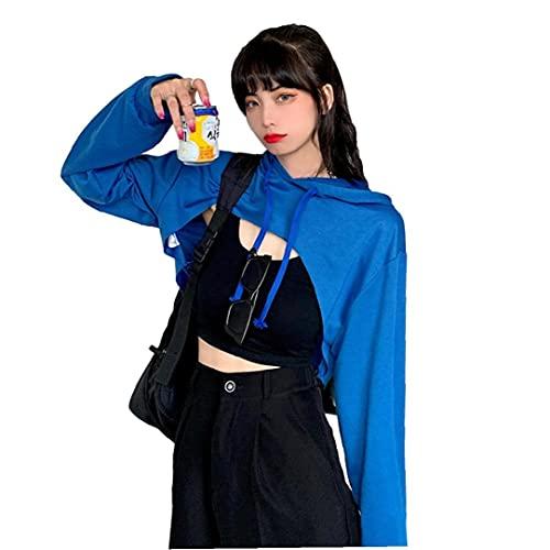 VusiElag Sudadera con Capucha de Mujer Mangas largas con Capucha con Capucha Llano Expuesto al Ombligo Top KPOP Ropa Corta Streetwear Ultra-Corto Azul L