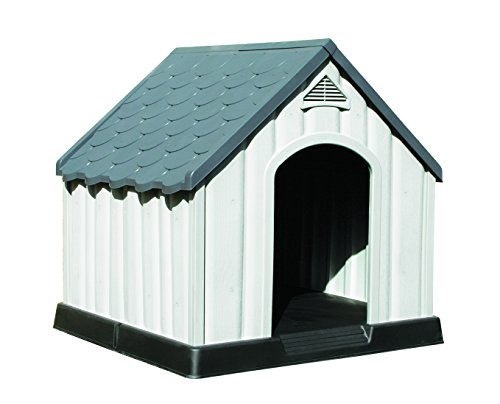 Hundehütte, aus Kunststoff, für den Außenbereich, widerstandsfähig, groß, Braun