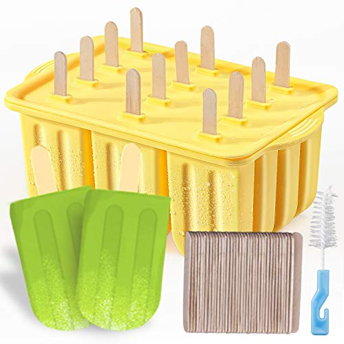 Popsicle Molds Kit MEETRUE 12 Pieces Silicone Popsicle Molds EasyRelease BPAfree Popsicle Maker Molds Ice Pop Molds Homemade Popsicle Ice Pop Maker with 50PCS Popsicle SticksCleaning Brush Green