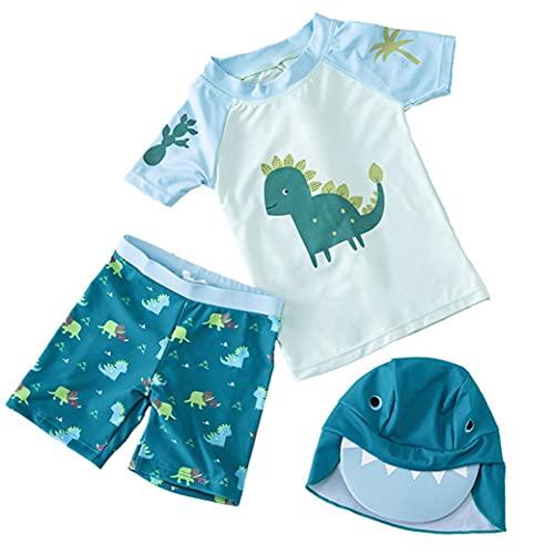 NIDONE Muchachos Traje de baño para niños con Pantalones Cap Dinosaurio Impreso Traje de baño de Split Traje de Manga Corta 3pcs Verde XL